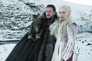 "Jon Snow, played by Kit Harington, Daenerys Targaryen, played by Emilia Clarke, in season 7 of ""Game of Thrones,"" on HBO. (HBO/TNS)"