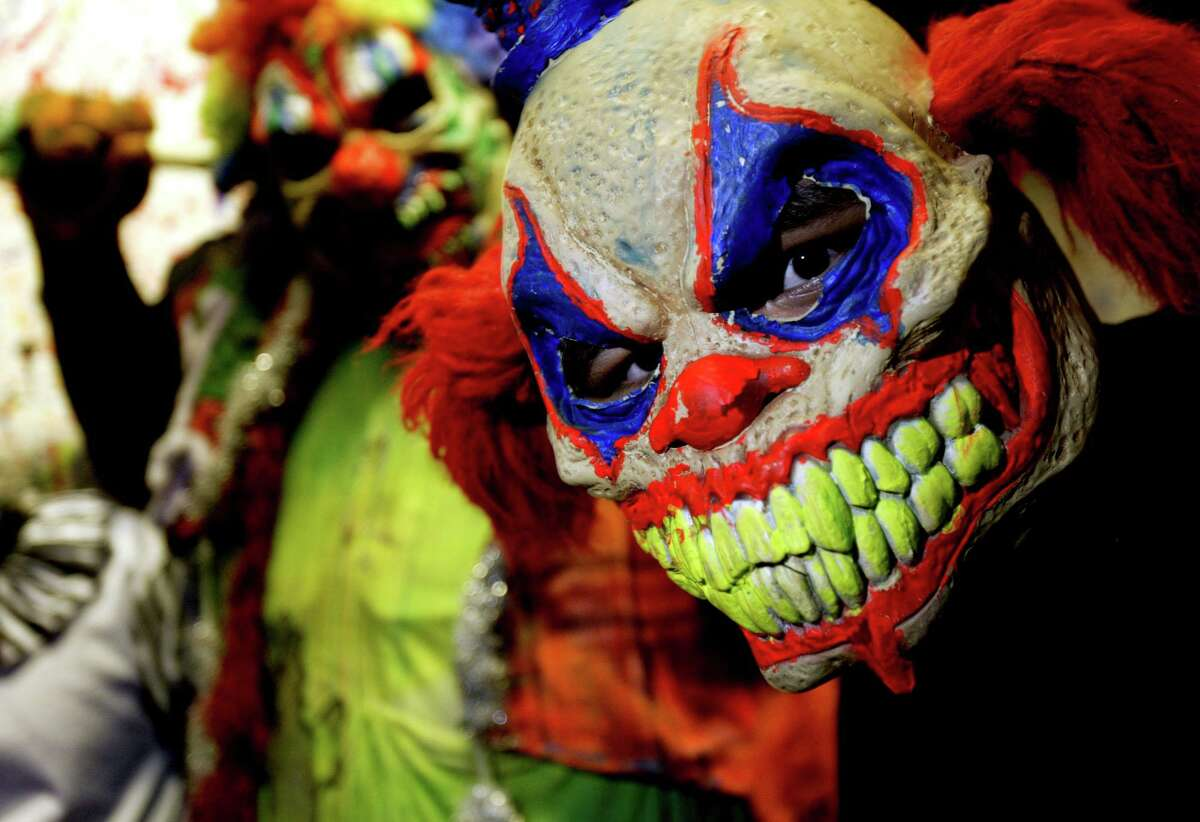 Monsters await at the haunted house.