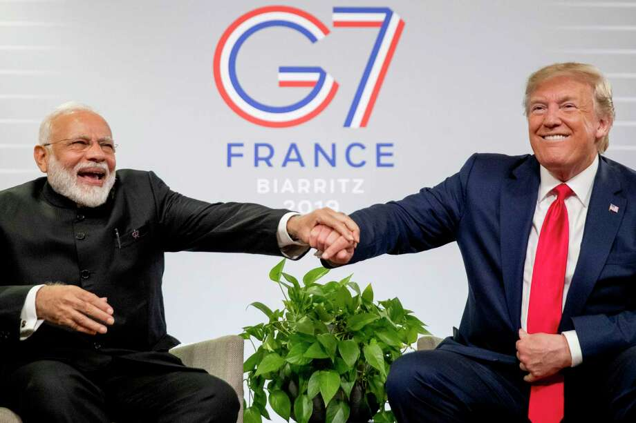 President Donald Trump and Indian Prime Minister Narendra Modi share a laugh together during a bilateral meeting at the G-7 summit in Biarritz, France, Monday, Aug. 26, 2019. (AP Photo/Andrew Harnik) Photo: Andrew Harnik, STF / Associated Press / Copyright 2019 The Associated Press. All rights reserved