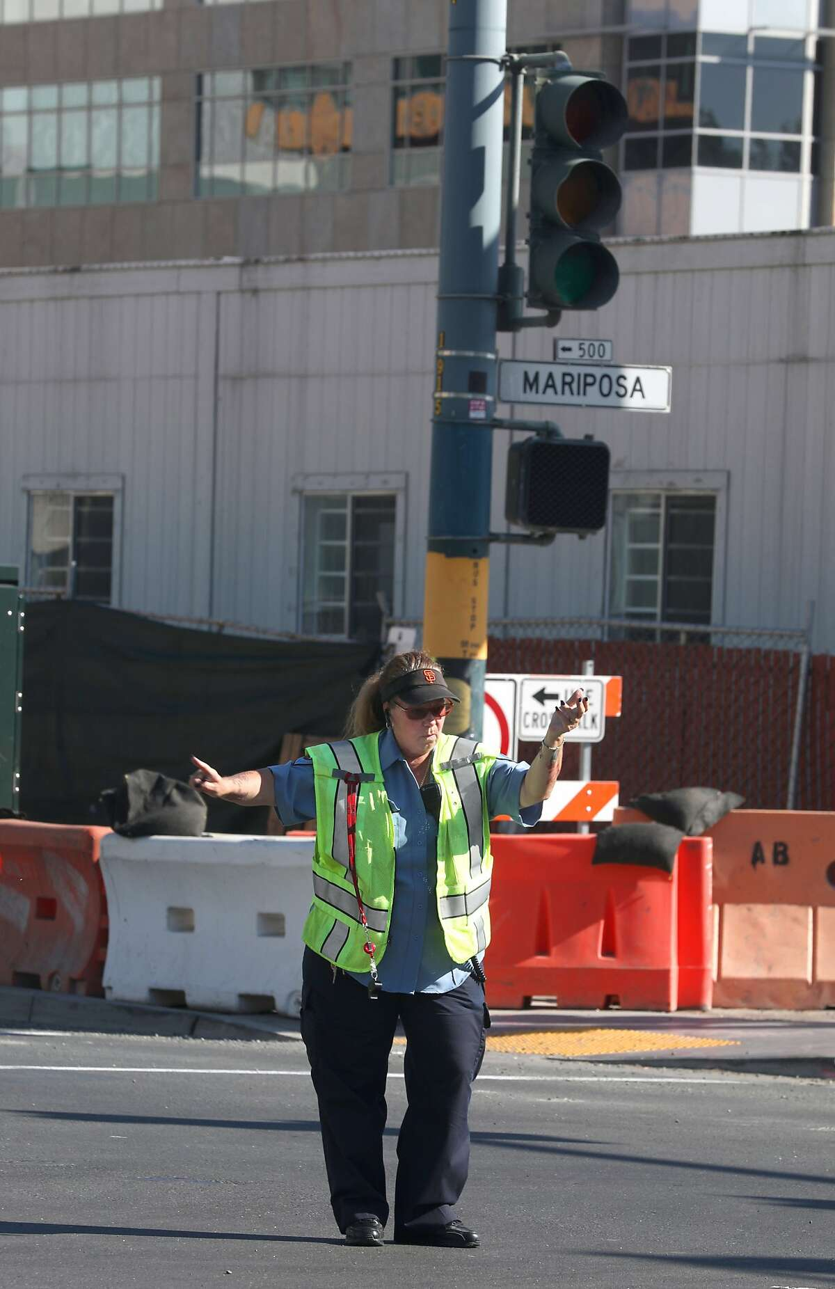 Traffic lights on 3rd at Mariposa streets are part of the outtage this morning which left 22,000 customers without power on Friday, Sept. 20, 2019 in San Francisco, Calif.