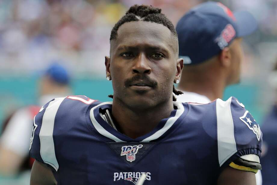 FILE - In this Sunday, Sept. 15, 2019, file photo, New England Patriots wide receiver Antonio Brown (17) on the sidelines,during the first half at an NFL football game against the Miami Dolphins in Miami Gardens, Fla. The Patriots released Brown on Friday, Sept. 20, 2019. (AP Photo/Lynne Sladky, File) Photo: Lynne Sladky, Associated Press
