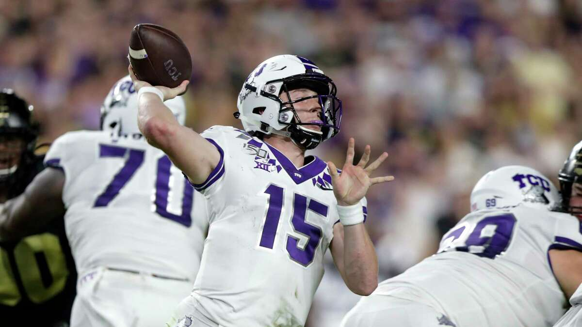TCU quarterback Max Duggan (15) throws against Purdue during the second half of an NCAA college football game in West Lafayette, Ind., Saturday, Sept. 14, 2019. (AP Photo/Michael Conroy)