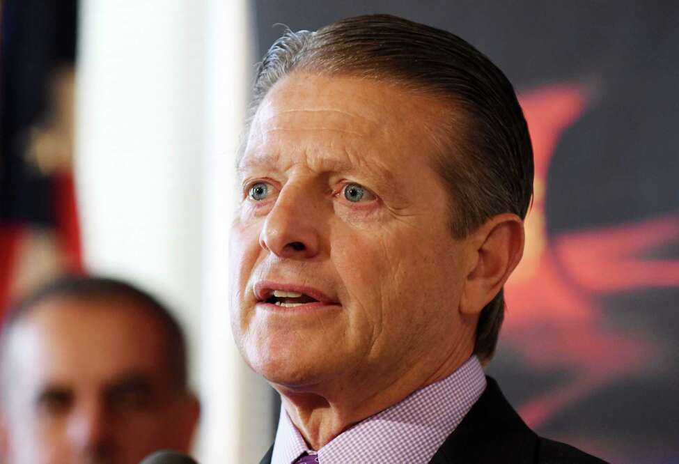 Sen. Patrick Gallivan speaks during a press conference held by Senate Republicans to address the downside of proposed criminal justice reform measures on Wednesday, March 6, 2019, in Albany, N.Y. (Will Waldron/Times Union)