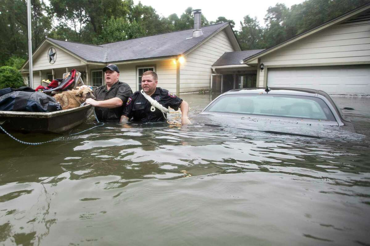 Splendora Police Lt. Troy Teller, left, and reserve officer Mike Jones rescue, Maggie, Carol Jackson's German Shepherd, from her flooded home on Thursday, Sept. 19, 2019, in Spendora. Jackson said she only received 2 feet of water during Hurricane Harvey. Tropical Depression Imelda caused floodwaters to ride halfway up her home.