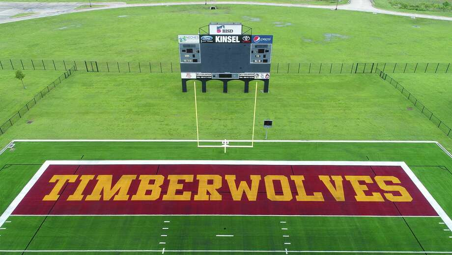 Beaumont Independent School District's new artificial turf with the Timberwolves and Bruins labeled in the end zones was unveiled Thursday morning.  Photo taken Thursday, 6/21/18 Photo: Guiseppe Barranco/The Enterprise, Photo Editor / Guiseppe Barranco ©