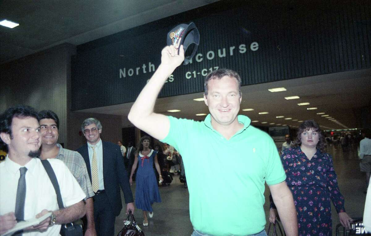 Actor Randy Quaid arrives in Houston for the Biggest Party in History festivities, Sept. 1, 1989.