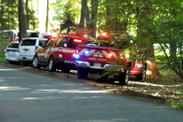 Tankers from multiple towns ferried water to the scene of a fire at 23 Father Peters Lane in New Canaan Friday afternoon, Sept. 20.
