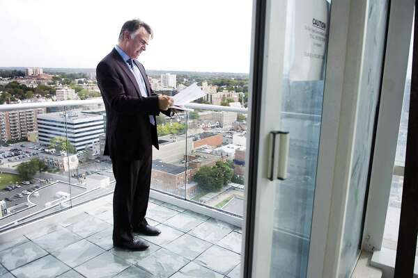 Tom Rich, president of F.D. Rich Co. in Stamford and a developer of Trump Parc tours the new building in Stamford, Conn. on Tuesday, Sept . 22, 2009. Rich, and Cappelli Enterprises Inc. in Valhalla, N.Y., are behind the 37-floor, 400-foot tower where owners are now beginning to move in.