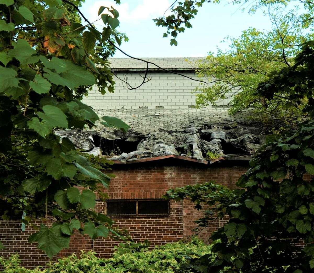 The deteriorated roof at 33 E. Franklin St. - the 2.5-acre site of the condemned industrial building being acquired by Danbury.