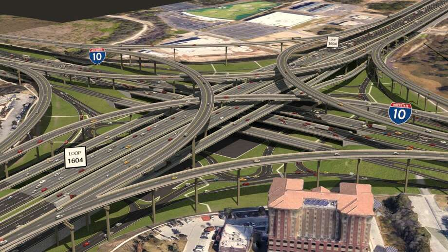 A rendering shows what the intersection of Loop 1604 and Interstate 10 will look like after a massive widening of 1604 is complete. Photo: Courtesy /Texas Department Of Transportation
