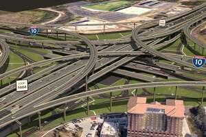 A rendering shows what the intersection of Loop 1604 and Interstate 10 will look like after a massive widening of 1604 is complete.