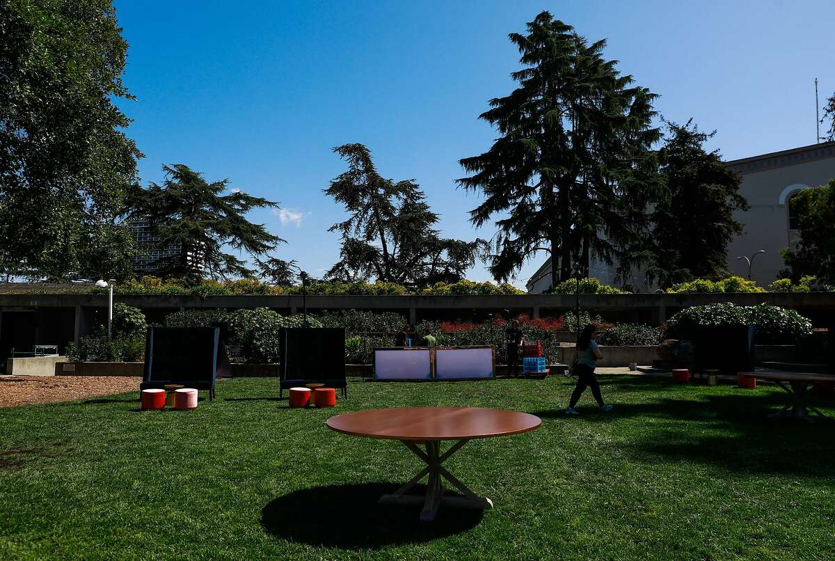 The grounds of the Oakland Museum which will be undergoing renovations in Oakland, California, on Thursday, Sept. 19, 2019. A stage will be built on the lawn for performances.