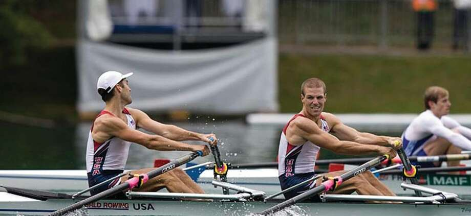 Rowayton native Brian deRegt, right, spent two months in Europe with rowing partner John Winter, left, in an effort to eventually qualify for the 2012 Olympics. Photo: Contributed Photo / Darien News