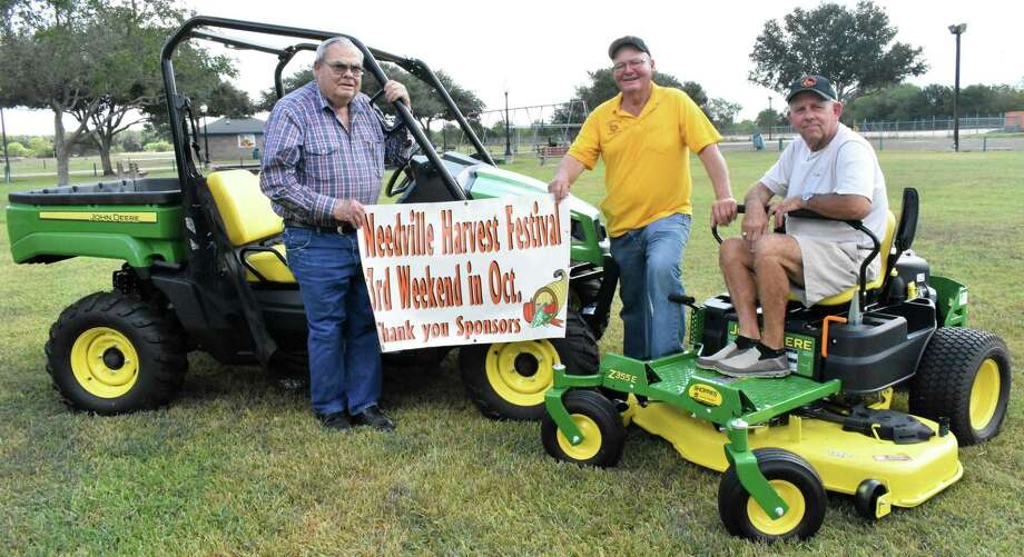 The two top prizes for the Needville Harvest Fest raffle have arrived and committee members are hard at work preparing for the 36th annual event, which takes place Friday and Saturday, Oct. 18-19, at Harvest Park. First prize is a John Deere 4x4 Gator, second prize is a John Deere 48-inch zero-turn mower, third prize is a $500 gift certificate, fourth prize is a $250 gift certificate, and fifth prize is a $250 gift certificate. Raffle tickets are $10 and are available from any committee member or Harvest Fest Queen candidate. Tickets are also available at various businesses in Needville or by calling Raffle Chair Amber Morris at 979-943-1493 or President Chris Janicek at 281-468-9314. Pictured with the Gator and mower are, from left, Harvest Fest Committee members Don Wenzel, W. Lee Hedt and Janicek. Photo: Needville Harvest Festival / Needville Harvest Festival