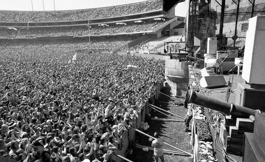 April 25, 1976: The Oakland Coliseum between sets, before headliner Peter Frampton appeared at Day on the Green in 1976. Photo: Susan Gilbert / The Chronicle 1976