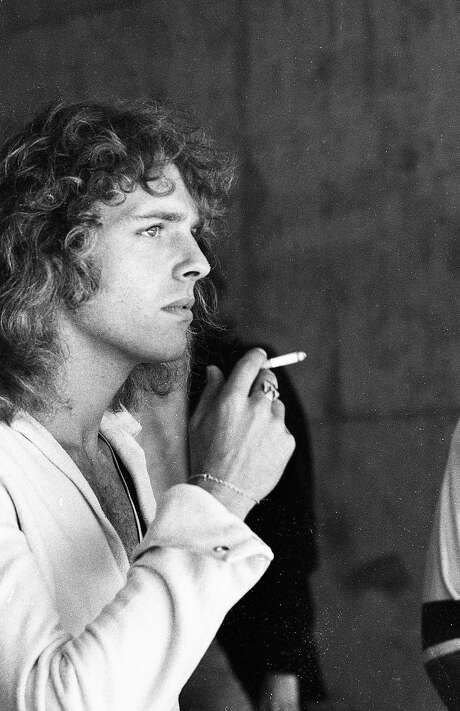 April 25, 1976: Peter Frampton smokes before his Oakland Coliseum headlining set at Day on the Green in 1976. Photo: Susan Gilbert / The Chronicle 1976
