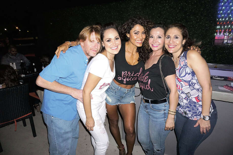 Scott Cates, Paty Palacios, Erika Vanous, Sandra Villarreal and Paty Vazquez at Rooftop Lounge Photo: Jose Gustavo Morales