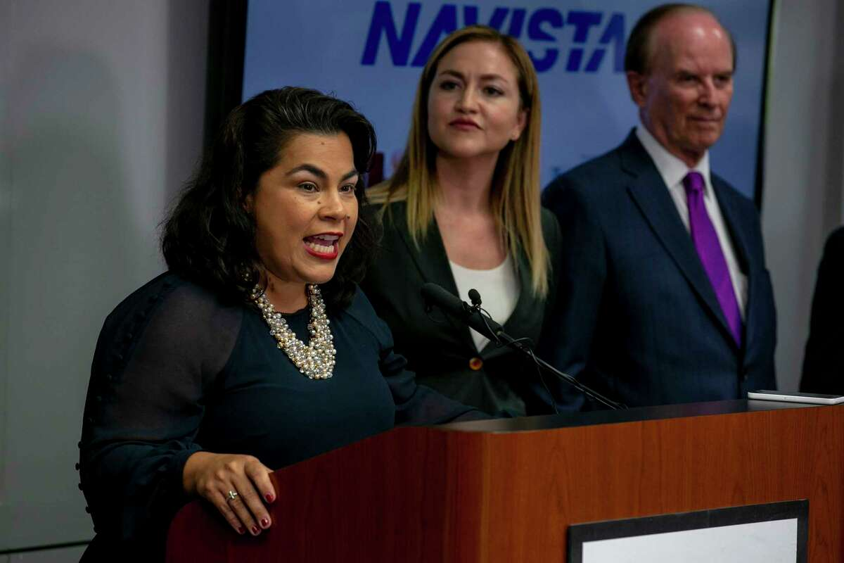 District 3 Councilwoman Rebecca J. Viagran speaks during a press conference about Navistar's plans for a new San Antonio manufacturing facility.