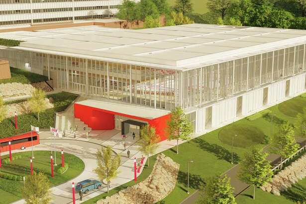 Rendering of the planned hockey arena & natatorium at Sacred Heart University.