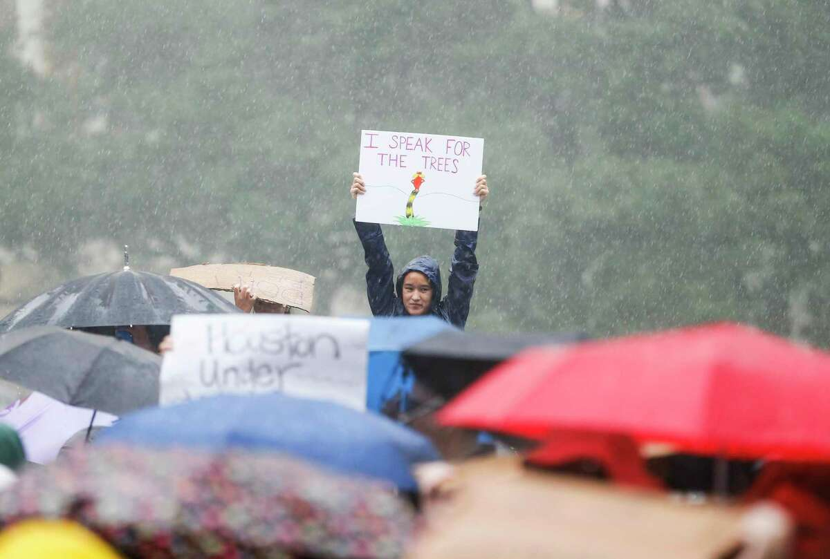 Sarah Szafranski, 17, a senior Bellaire High School, holds up a sign quoting Dr. Suess' The Lorax during the Houston Climate Strike at City Hall on Friday, Sept. 20, 2019 in Houston.
