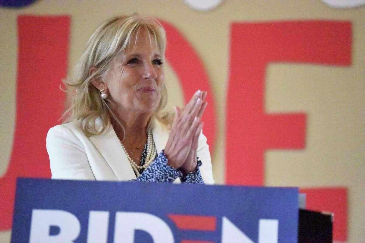 Jill Biden campaigns on behalf of her husband, Democratic presidential hopeful and former Vice President Joe Biden, on Aug. 24 in Great Falls, S.C.
