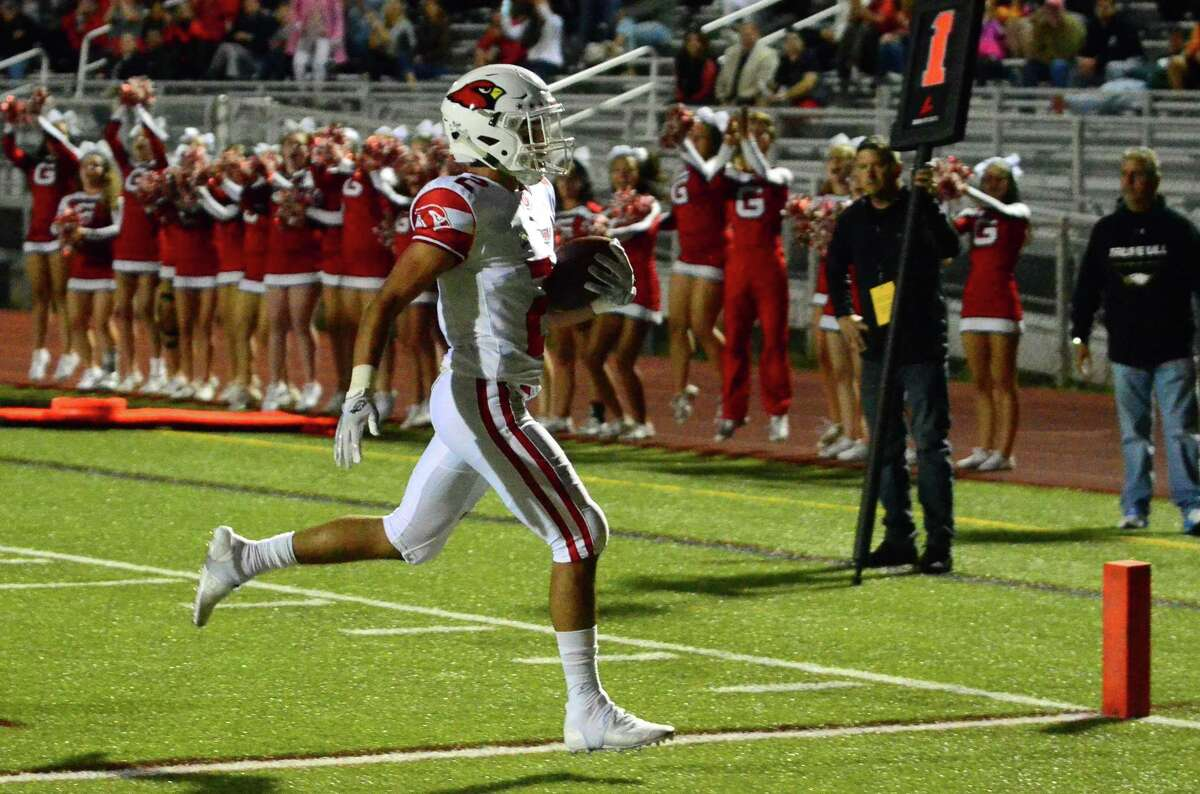 Greenwich's Kobe Comizio scores a touchdown against Trumbull on Sept. 20 in Trumbull.
