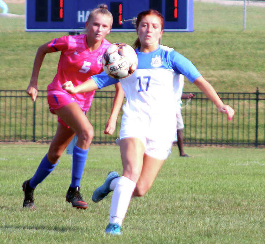 Ella Kiely of LCCC (17) looks to settle the ball during the Trailblazers' game against Southwest Tennessee. Kiely scored a goal in LCCC's victory. Photo: Pete Hayes | The Telegraph