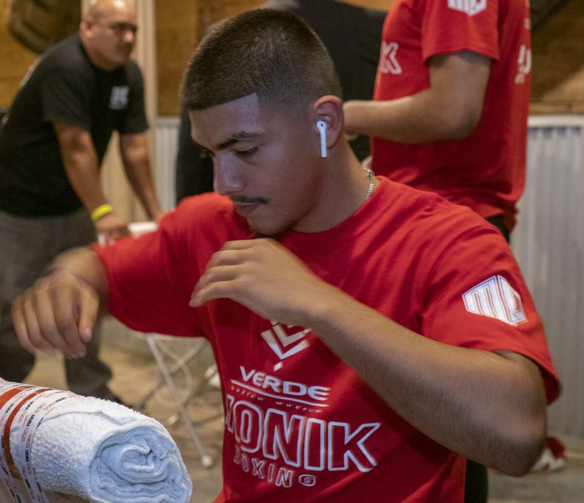 Michael Dutchover starts to get ready 09/20/19 night in the dressing rooms at The Hacienda Event Center, before his fight against Thomas Mattice. Tim Fischer/Reporter-Telegram