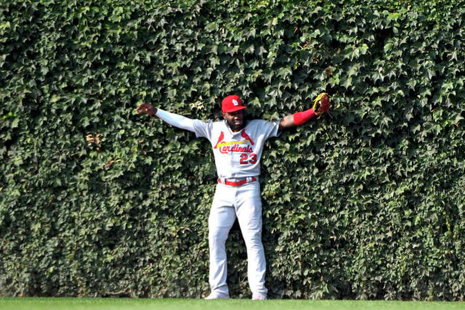Cardinals left fielder Marcell Ozuna (23) leans into the ivy after catching a fly ball hit by the Cubs' Kris Bryant to end the seventh inning of Friday's game in Chicago. Photo: AP Photo
