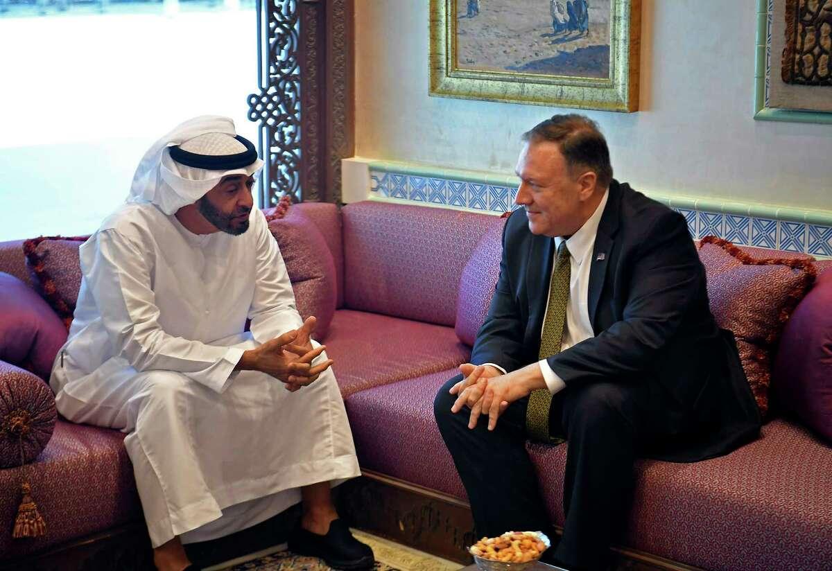 U.S. Secretary of State Mike Pompeo meets with Abu Dhabi Crown Prince Mohamed bin Zayed al-Nahyan in Abu Dhabi, United Arab Emirates, Thursday, Sept. 19, 2019. (Mandel Ngan/Pool via AP)