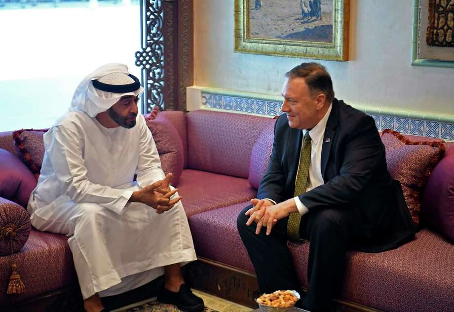 U.S. Secretary of State Mike Pompeo meets with Abu Dhabi Crown Prince Mohamed bin Zayed al-Nahyan in Abu Dhabi, United Arab Emirates, Thursday, Sept. 19, 2019. (Mandel Ngan/Pool via AP) Photo: Mandel Ngan / Pool AFP