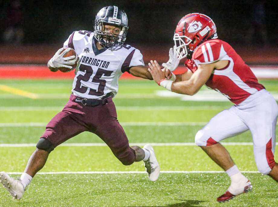 (John Vanacore/For Hearst Connecticut Media)  The Red Raiders of Derby played host to the Red Raiders of Torrington Friday, Septermber 20, 2019. The game was the first under the lights on the all new DeFillipo Field. Photo: John Vanacore