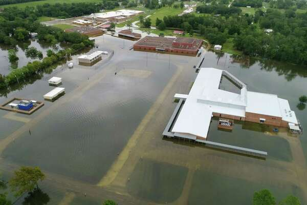 Hamshire Fannett Middle School on Texas 124 after Tropical Storm Imelda in Fannett on Friday. Photo taken Friday, 9/20/19