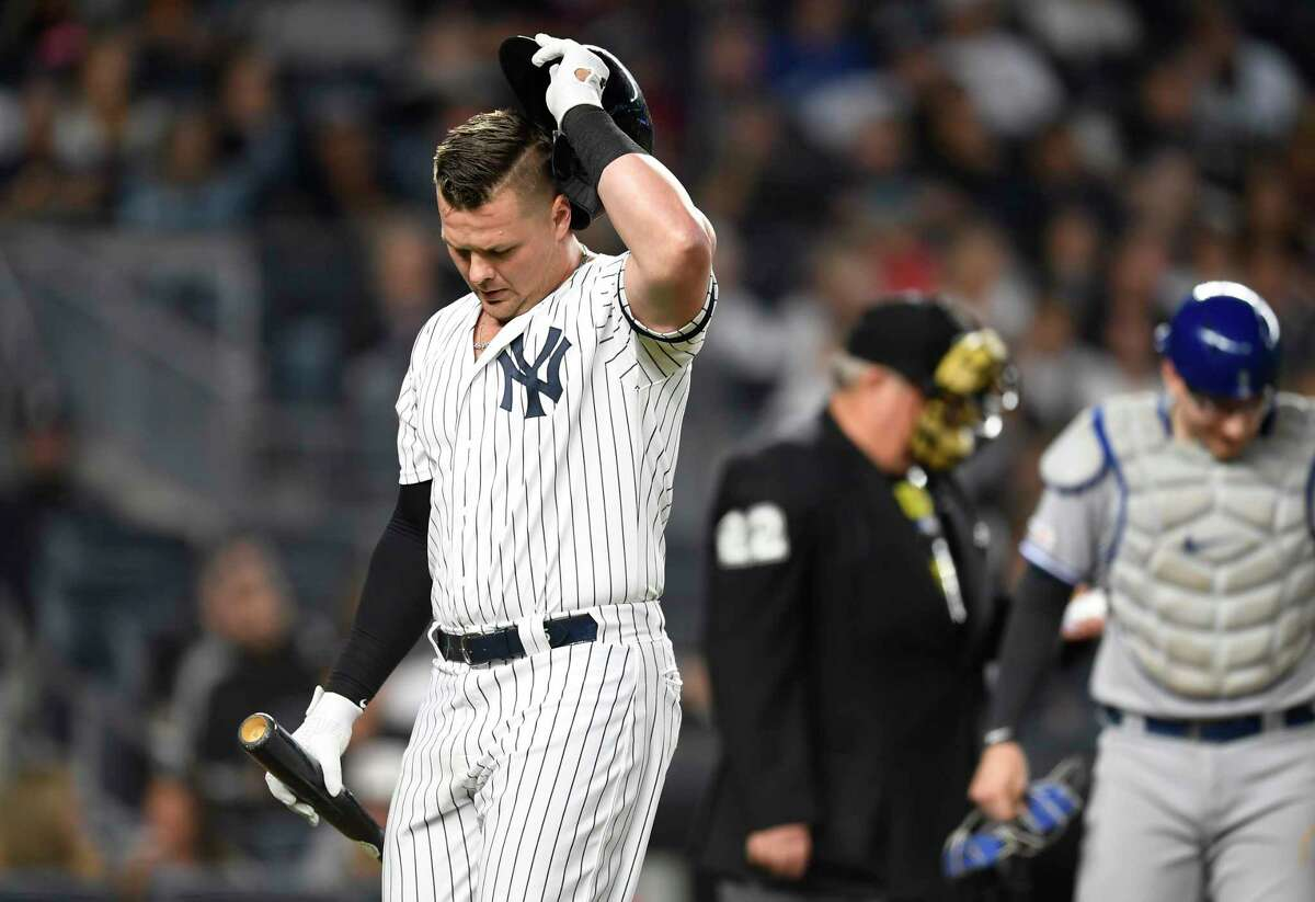 New York Yankees' Luke Voit reacts after striking out during the ninth inning of the team's baseball game against the Toronto Blue Jays, Friday, Sept. 20, 2019, in New York. (AP Photo/Sarah Stier)