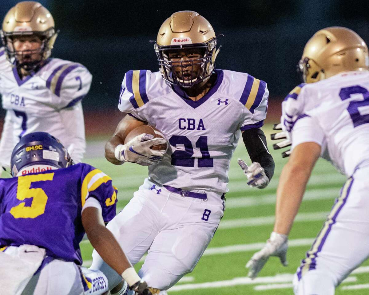 CBA running back Mike Barber looks for a hole during a game against Troy at Troy High School on Friday, Sept. 20 (Jim Franco/Special to the Times Union.)