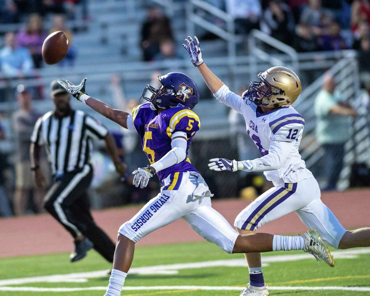 A pass is just out of the reach of Troy wide receiver Nasir Dawud Soto during a game against CBA at Troy High School on Friday, Sept. 20 (Jim Franco/Special to the Times Union.)
