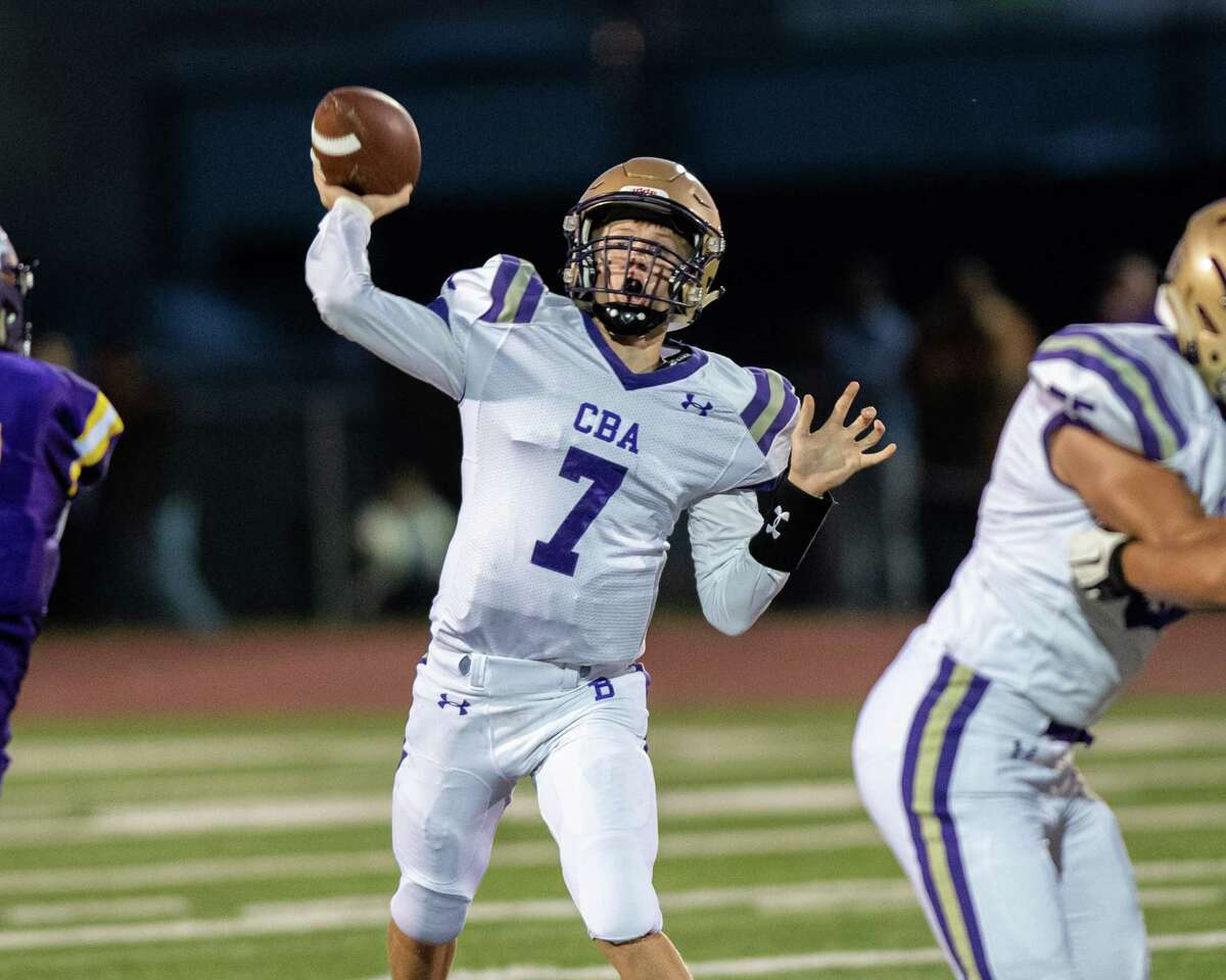 CBA quarterback Tyler Fort looks to pass during a game against Troy at Troy High School on Friday, Sept. 20 (Jim Franco/Special to the Times Union.)