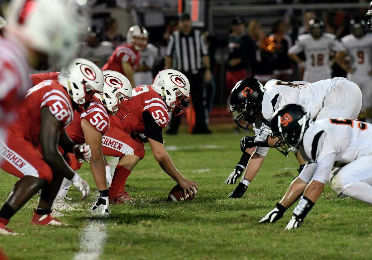 Guilderland's offense line ,left, matches up with Bethlehem's defense line during a Section II Class AA boys' high school football game in Guilderland, N.Y., Friday, Sept. 20, 2019. (Hans Pennink / Special to the Times Union)