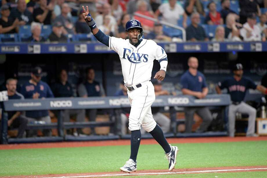 Tampa Bay Rays' Guillermo Heredia reacts while scoring on Willy Adames' double during the seventh inning of a baseball game against the Boston Red Sox, Friday, Sept. 20, 2019, in St. Petersburg, Fla. (AP Photo/Phelan M. Ebenhack) Photo: Phelan M. Ebenhack / Copyright 2019 The Associated Press. All rights reserved