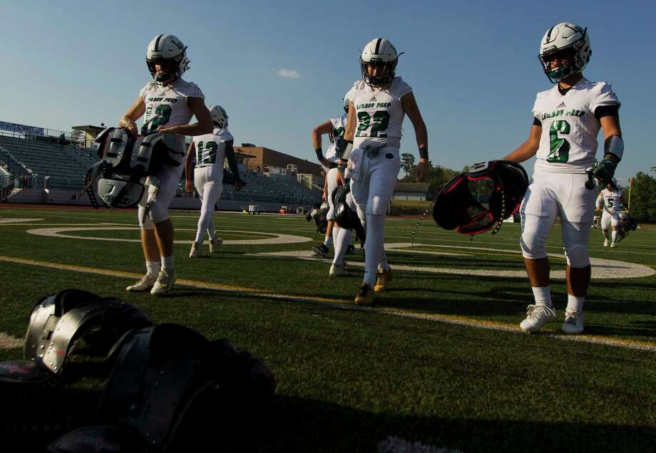 Legacy Prep football players prepare to warm up before a non-district high school football game at The John Cooper School, Friday, Sept. 6, 2019, in The Woodlands. Photo: Jason Fochtman, Houston Chronicle / Staff Photographer / Houston Chronicle