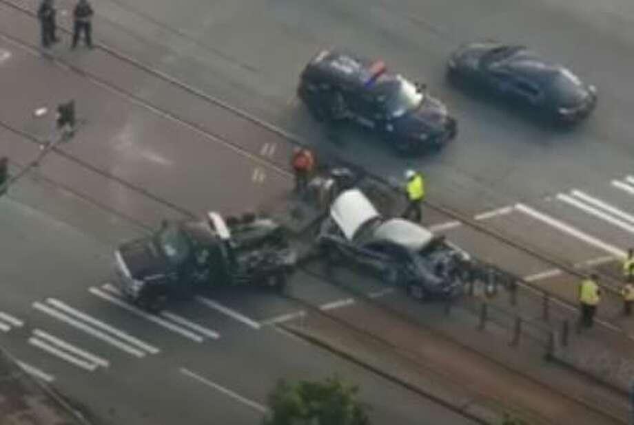 Light rail train hits stolen car in South Seattle. Photo: Courtesy KOMO News