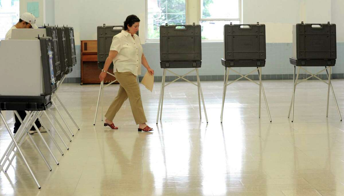 Primary election voting at Black Rock School in Bridgeport, Conn. on Tuesday Sept. 10, 2013.