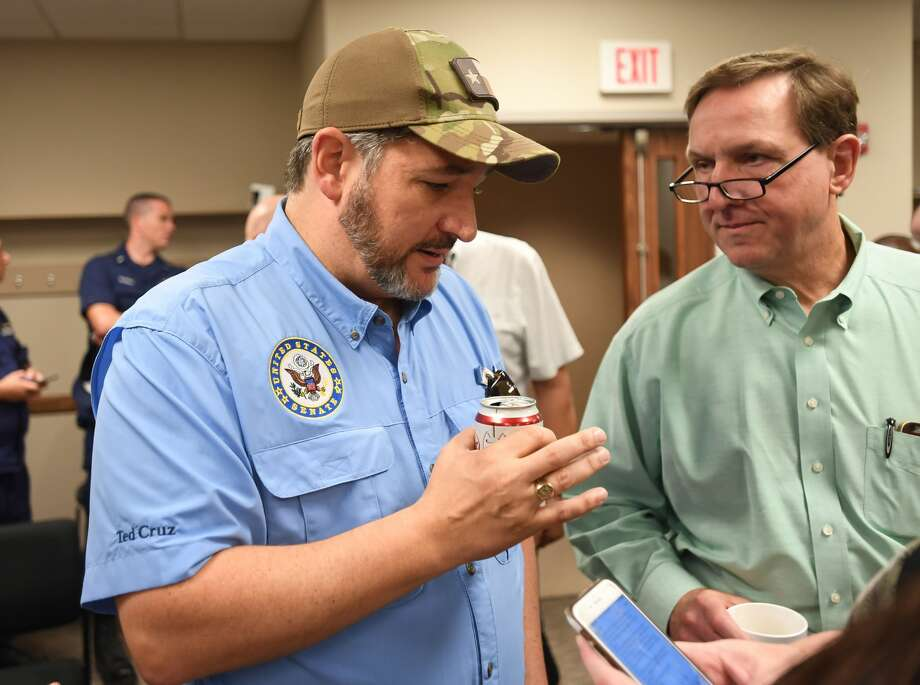 Senator Ted Cruz talks after the City of Beaumont's press conference regarding Tropical Depression Imelda on Saturday. Jefferson County Judge Jeff Branick is also pictured. Photo taken Saturday, 9/21/19 Photo: Guiseppe Barranco/The Enterprise