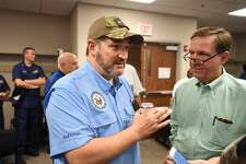 Senator Ted Cruz talks after the City of Beaumont's press conference regarding Tropical Depression Imelda on Saturday. Jefferson County Judge Jeff Branick is also pictured. Photo taken Saturday, 9/21/19