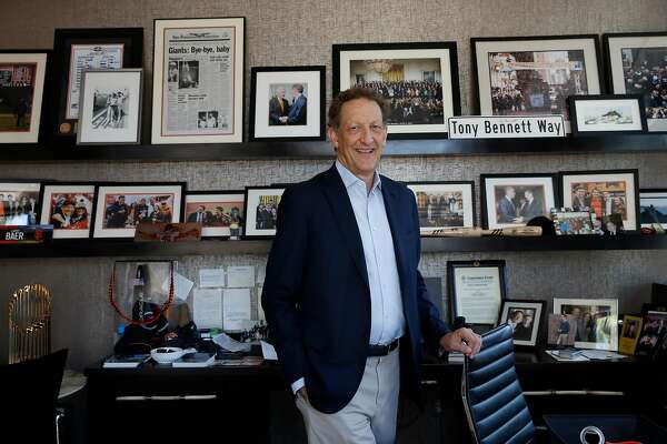 San Francisco Giants President and Chief Executive Officer Larry Baer stands for a portrait in his office at Oracle Park on Friday, September 13, 2019 in San Francisco, CA.