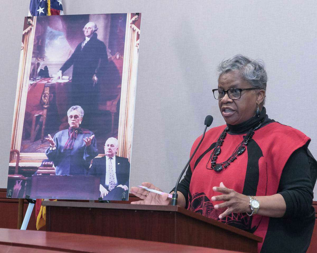 Margaret E. Morton, the first African-American woman to sit in the Connecticut legislature has been nominated for the Connecticut Women's Hall of Fame. Shown here is state Sen. Marilyn Moore, who is challenging Bridgeport Mayor Joe Ganim in the November election.