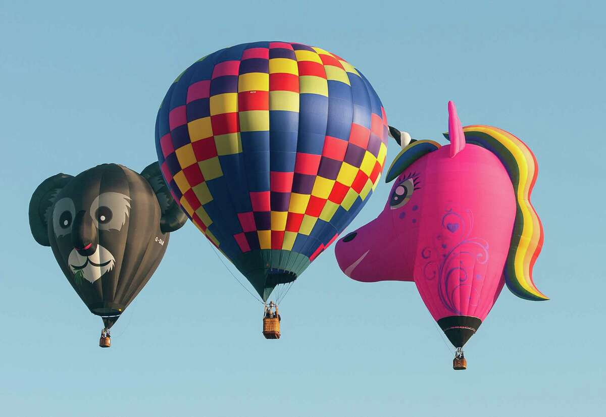 Balloons are seen during the morning launch Saturday, Sept. 21, 2019, of the 47th Annual Adirondack Balloon Festival at Floyd Bennett Memorial Airport in Queensbury, N.Y. (Jenn March, Special to the Times Union)