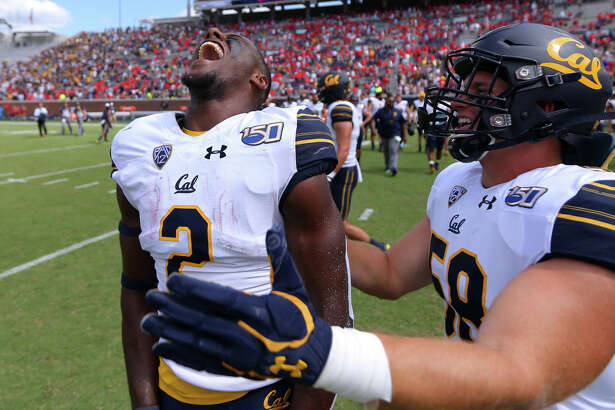 OXFORD, MISSISSIPPI - SEPTEMBER 21: Jordan Duncan #2 of the California Golden Bears celebrates a win after a game against the Mississippi Rebels at Vaught-Hemingway Stadium on September 21, 2019 in Oxford, Mississippi. (Photo by Jonathan Bachman/Getty Images)