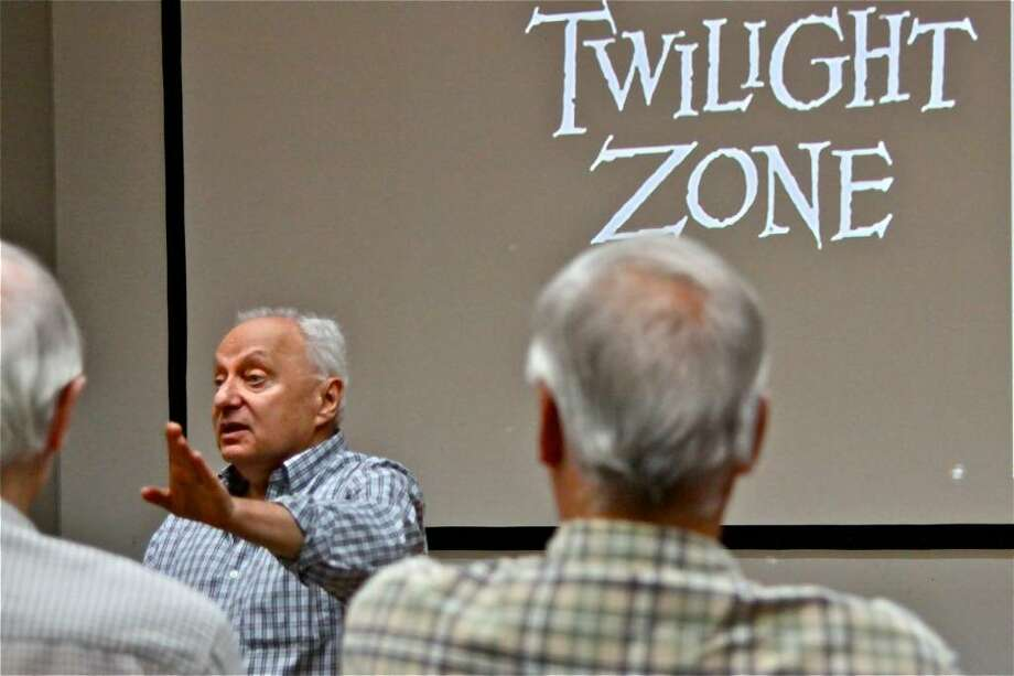 """Author and film historian, Doug Brode, speaks about Rod Serling and """"The Twilight Zone"""" television series at the Westport Public Library Wednesday evening. Photo: Contributed Photo, Contributed Photo / Larry Untermeyer / Westport News"""