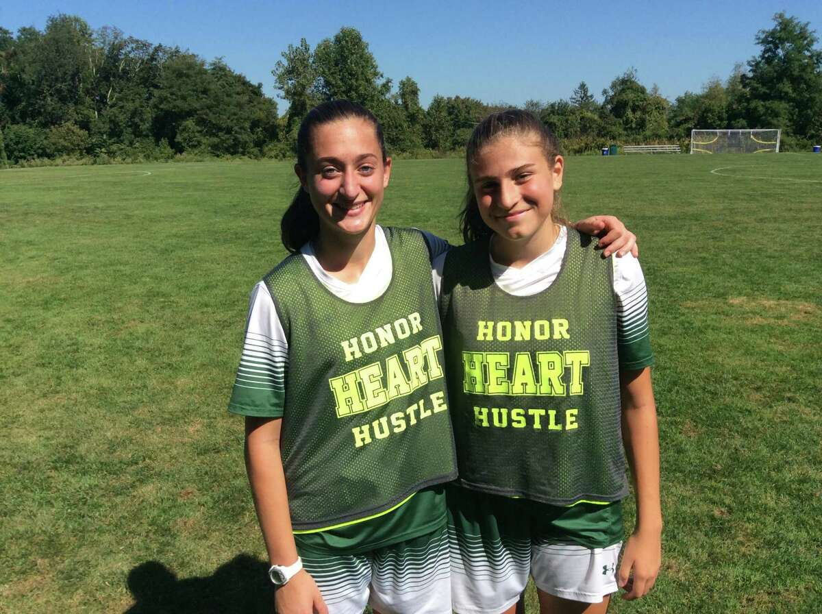 Alana Frederick, left, and Fernanda Serna combined for five goals in the Sacred Heart Greenwich soccer team's 7-2 win over Hamden Hall on Saturday, September 21, 2019, in Greenwich.